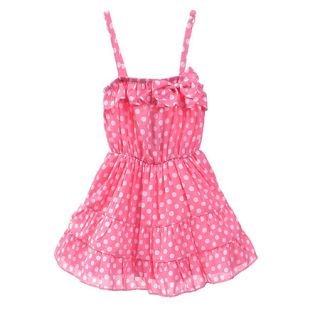 2 7 Years Baby Kids Girls Pink Summer Dress Braces Skirt w Bow 19028