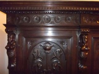 C1900 Carved Italian Walnut Figural Large Bedroom Set Armoire 11IT116A