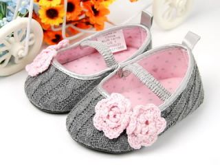 965 New Toddler Baby Girl Gray Crib Shoes Size 2