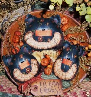 Primitive Halloween Black Cat Ornies Pattern 137