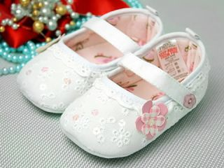 A66 New Toddler Baby Girl White Dress Shoes UK 2 3 4