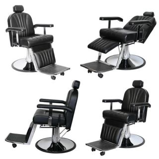 4 Heavy Duty Black Barber Chair Salon Equipment BC 01b