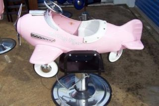 Kids Pedal Car Salon Barber Chair Pink Fantasy Flyer Airplane Pink White