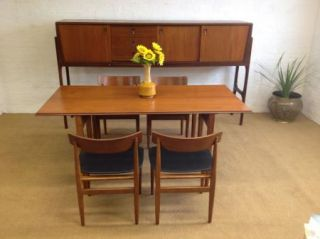 RARE Teak Mid Century Danish Modern Tuck Under Sideboard Table Chairs Desk