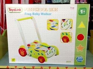 Wooden Frog Baby Walker 31 Piece Building Blocks Walking Toddler Push Cart Toy