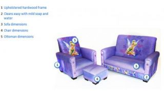 New Girls Child Kids Tinker Bell Toddler Sofa Couch Chair Ottoman Furniture