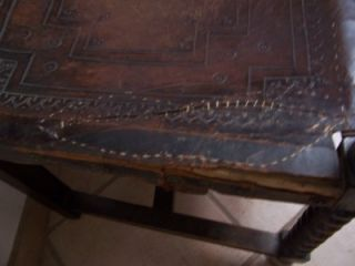 Antique Spanish Hand Tooled Leather Carved Arm Chair