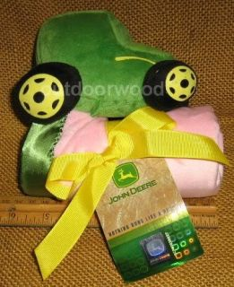 John Deere Pink Plush Tractor Baby Banky Blanket with Satin Trim