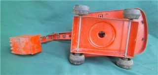 Vintage Louis Marx Lumar Pressed Steel Orange Construction Crane Shovel Toy