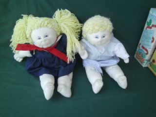 2 Twin Blonde Cabbage Patch Kids Dolls Lot Girl Boy 2 Outfits Soft Face
