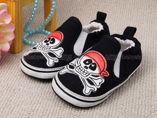 New Toddler Baby Boy Black Pirate Skull Casual Shoes US Size 3 K12
