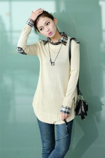 Women Loose Pullover Knitwear Shirt Collar Lady Knitted Sweater Coat Jumper Tops