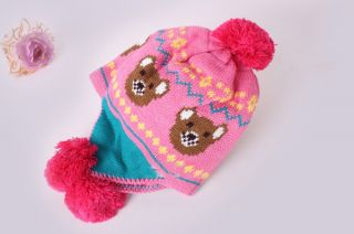 Baby Kids Girl Bear Knit Hat Crochet Winter Warm Earmuffs Beanie Ear Ball Cap