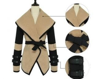 Women Lady Fashion Cape Celeb Jackets Outwear Big Lapel Woolen Coat Tops Belt