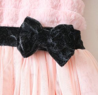 Saucy Toddlers Kids Faux Fur Tutu Fleece Princess Skirt Party Girls Formal Dress