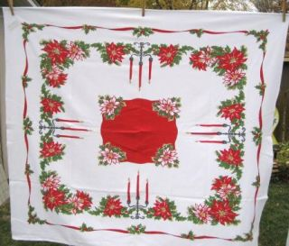 Vintage Square Poinsettia Holly Christmas Holiday Tablecloth 49 x 49