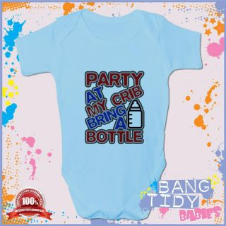 Funny Baby Grow Vest Party at My Crib Boy Girl Babies Clothing Fun Cool Gift