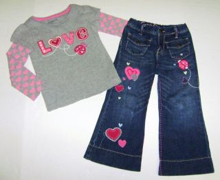 Baby Gap Girl Sweet Heart Valentine's Ladybug Shirt Embroidered Jean Lot 4 4T