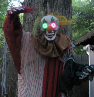 Poseable LED Flashing Eyes 6' Lifesize Evil Clown Hanging Halloween Prop