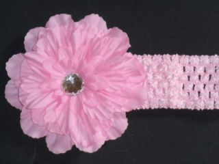 Infant Toddler Baby Girl's Gerber Daisy w Crystal Stretch Crochet Headband New