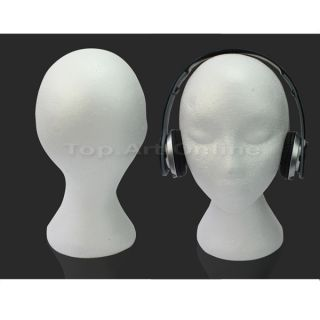 White Used Styrofoam Foam Mannequin Manikin Head Model Display Hat Cap Glasses