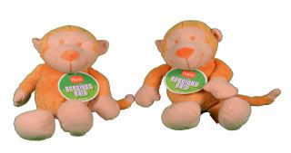 Lot of 2 Hartz Precious Pals Plush Orange Monkey Dog Toy with Squeaker