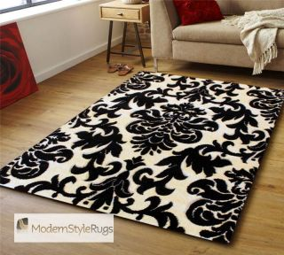 Black Ivory Rug Moda Handcarved Polypropelene Pile Sophisticated Damask Design