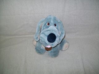 Ganzbros Toys 1981 Vintage Wrinkles Dog Plush Grey Blue