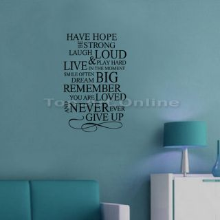 Art Home Decor Have Hope Never Give Up Removable Vinyl Wall Quote Decal Stickers