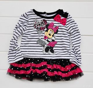Baby Girls Minnie Net Lace Striped Tutu Dress T Shirt Pants Legging Suit Set
