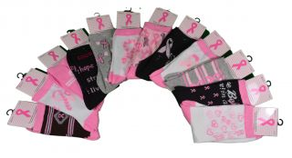 12 Pairs Breast Cancer Awareness Pink Ribbon Novelty Socks with Sayings 9 11