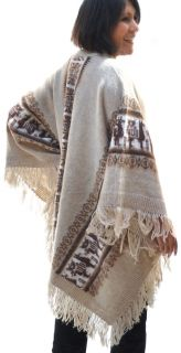 Warm Ruana with Altiplano Designs Llama Alpaca Wool Made in Bolivia