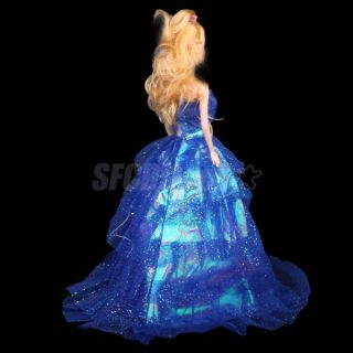Glitter Powder Evening Party Wedding Gown Dress for Barbie Doll Royal Blue New