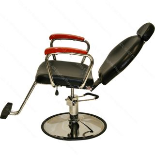 Hydraulic Reclining Barber Chair Cherry Wood Shampoo Hair Beauty Salon Equipment