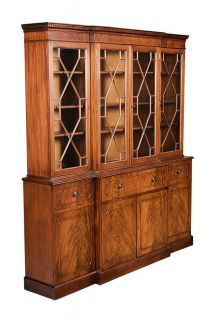 Antique English Flame Mahogany Breakfront Bookcase with Secretary