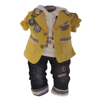 Handsome Baby Boys Clothes 3pcs Set Suits Hoody Jeans Baby Boys Set Outfits