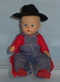 Vintage 50s Vogue Jimmy Old Vinyl Doll Wearing Cowboy Outfit Painted Eyes Nice