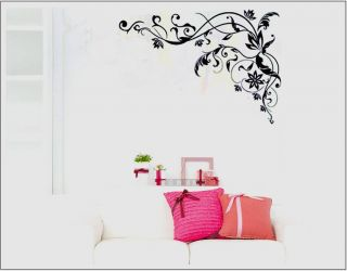 Large Black Vine Flower Removable PVC Art Mural Home Decor Wall Sticker Decal