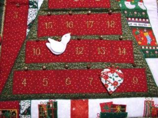 Countdown to Christmas Fabric Christmas Tree Advent Calendar w 24 Ornaments
