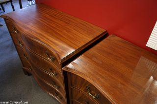 Pair of Antique Flamed Mahogany 4 Drawer Chest Commodes