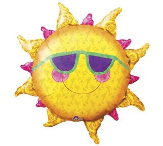 "XL 24"" Sun with Sunglasses Prismatic Super Shape Mylar Foil Balloon Luau Party"