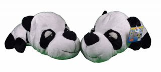 Lot of 2 Fat Hedz Soft Plush Panda Dog Toys with Squeaker