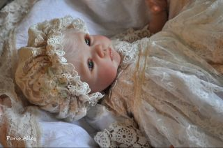 Pure Bliss French Lace Christening Dress Hat 4 Reborn Baby Doll