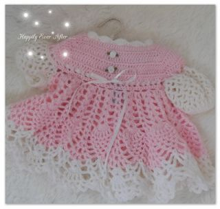 Baby or Reborn OOAK Doll Crochet Pink and White Dress Exquisite and Sweet L K