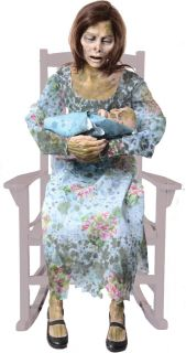 Rocking Moldy Mommy Animated Halloween Prop Lifesize Talking Haunted House New