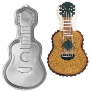 Wilton Guitar Novelty Rock Music Birthday Cake Pan Tin Mold Mould Aluminium