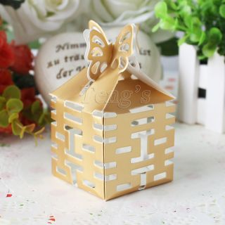 Gold Butterfly Top Double Happiness Wedding Party Baby Shower Favor Gift Box