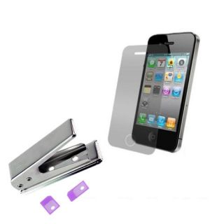 Micro Sim Card Cutter 2 Sim Adapter 2X Screen Film Protector for iPhone 4G 4S 4