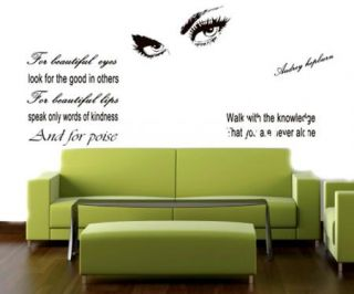 Hepburn's Sexy Eyes Vinyl Quote Art Wall Sticker Decal Decor DIY Removable MFM01
