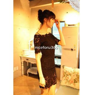 Women's Boat Neck Lace Strap Slim Sexy Clubwear Party Mini Dress Off Shoulder